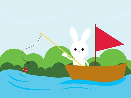 fishing bunny  Vector