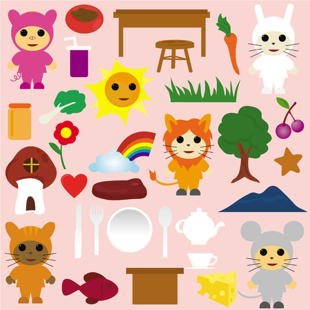 A set of cartoon animals and tea party icons  Vector