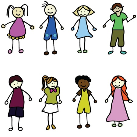 child birth: cartoon kids of boy and girls for children, fun, school and others