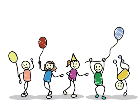 Cartoon Kinder von Jungen und Mädchen für Kinder, Spaß, Schule und andere Vektorgrafik