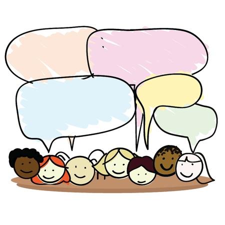 ni�os hablando: los ni�os de dibujos animados de ni�o y ni�as para los ni�os, la diversi�n, la escuela y otros Vectores
