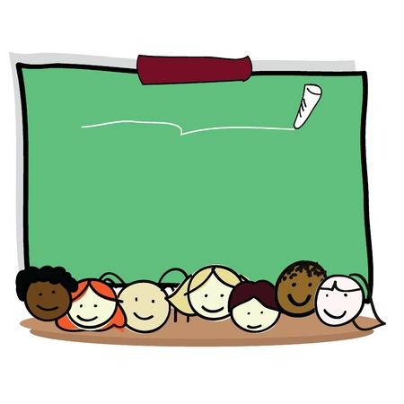 enfants de dessin animé de garçon et filles pour les enfants, le plaisir, l'école et les autres