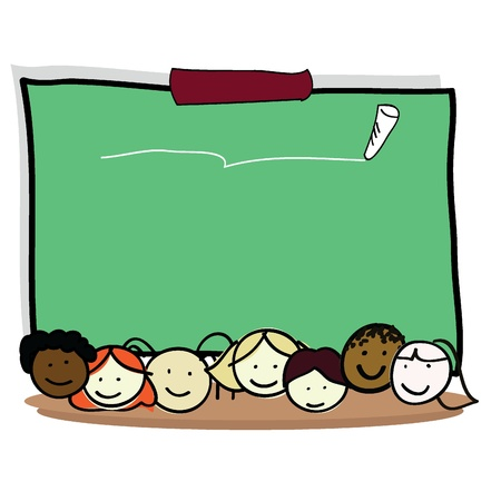 letrero: los niños de dibujos animados de niño y niñas para los niños, la diversión, la escuela y otros Vectores
