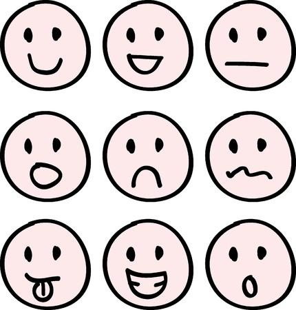 caritas felices: dibujos animados del doodle de caras para los iconos, botones y otros Vectores