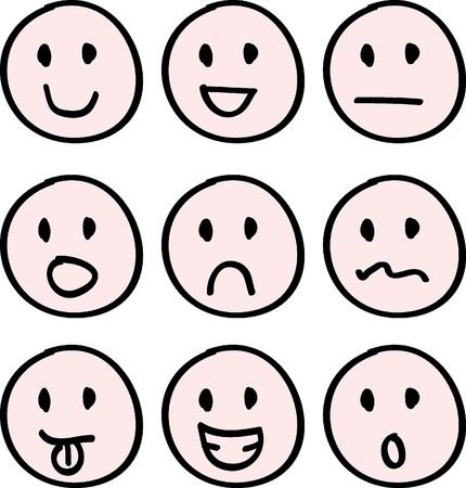 ansikten: tecknad doodle ansikten för ikoner, knappar och andra