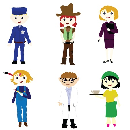 career cartoon boys and girls for career, fun, and others Stock Vector - 12888257