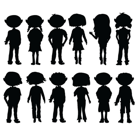 silhouettes cartoon kids boys and girls for education, fun and learning Stock Vector - 12888254