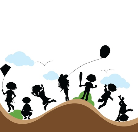 silhouettes cartoon kids couple outdoor playing Vector