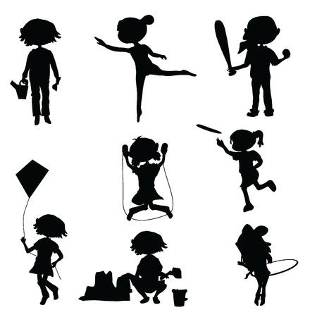 game boy: enfants silhouettes dessin�es pour le plaisir, l'�ducation et faire la f�te