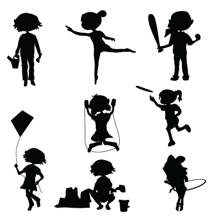 silhouettes cartoon kids for fun, education and party Illustration
