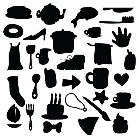 silhouettes icons for web, objects, background and others Vector