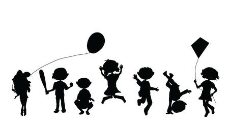 kind silhouet: silhouetten cartoon kinderen voor feesten, gelegenheden en anderen Stock Illustratie