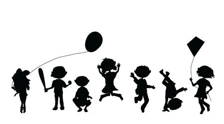 silhouettes cartoon kids for party, occasions and others Vector
