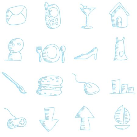 cartoon doodles icons for icons, buttons, web and others Vector