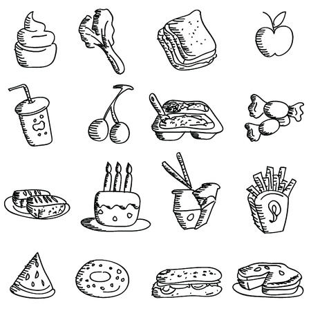 cartoon doodles icons for icons, food, restaurant and others Vector
