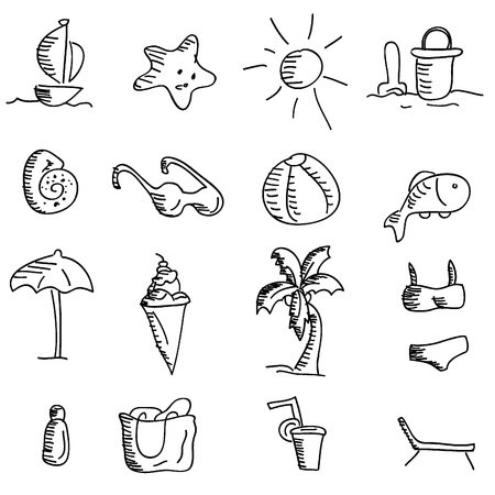 cartoon doodles icons for icons, buttons, travel and others Vector
