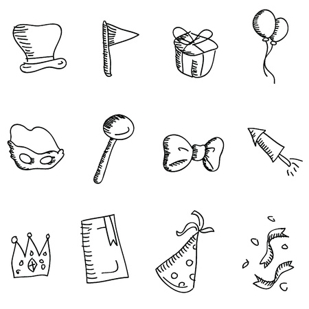 cartoon doodles icons for icons, buttons, party and others