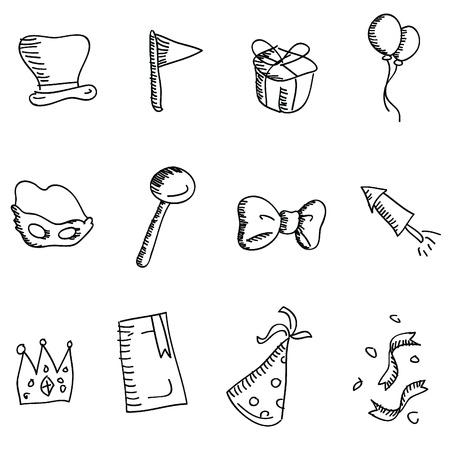 cartoon doodles pictogrammen voor pictogrammen, knoppen, party en anderen