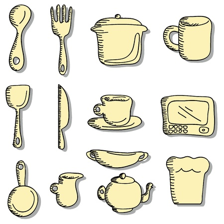 cartoon doodles for food and drinks icons Vector