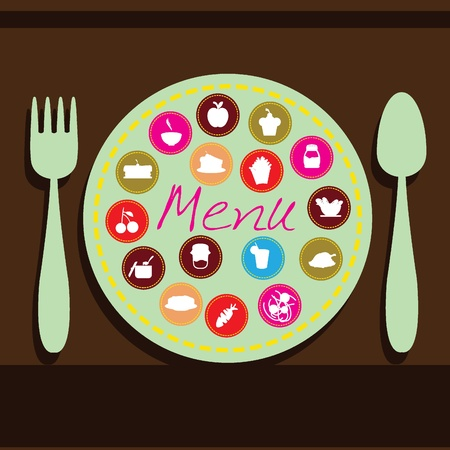plate, fork and spoon background for menu, dining, restaurant and others Stock Vector - 12888414
