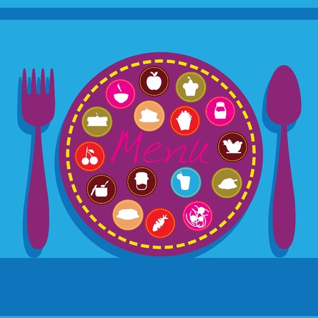 plate, fork and spoon background for menu, dining, restaurant and others Stock Vector - 12888431