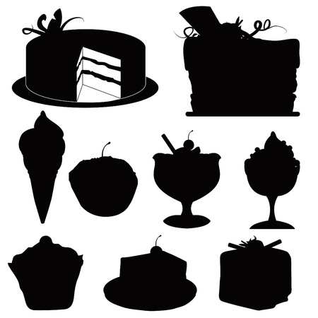 silhouettes desserts for restaurants, desserts and others Stock Photo - 13229551