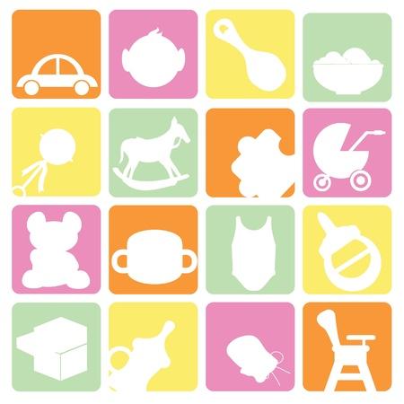 Baby Symbole für Gegenstände, Buttons und Baby-Sachen eingestellt