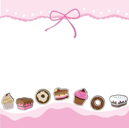 beignet: carte de tasse de g�teau d'anniversaire pour l'anniversaire, les enfants, la c�l�bration et la carte d'invitation Illustration