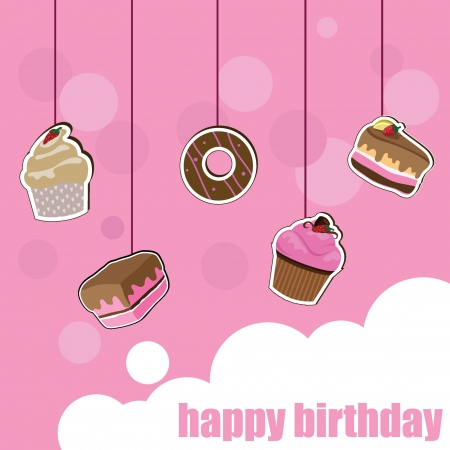 cup cake birthday card for birthday, kids, celebration and invitation card Stock Vector - 13919087