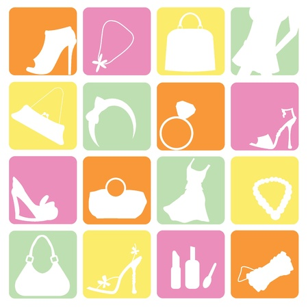 fashion items icons for fashion, shopping and new trends Vector