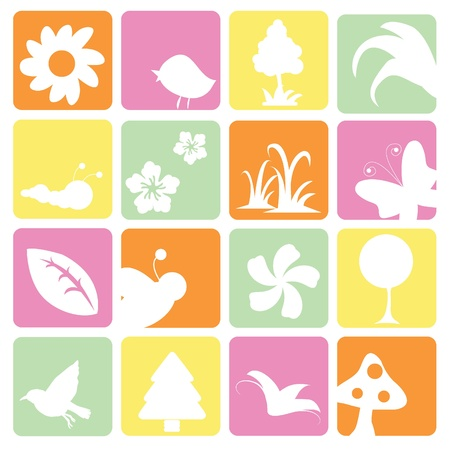 floral and plants icons for floral, nature and others as templates or buttons Vector