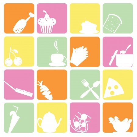 food stuff: food icons set for items, buttons and  food stuff Illustration