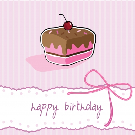 happy birthday cup cake card for birthday, party, fun and greeting card Stock Vector - 13919077
