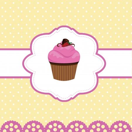 happy birthday cup cake card for birthday, party, fun and greeting card Vector