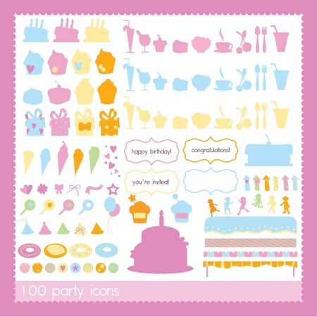 party icons for birthday, celebration, kids and others Vector