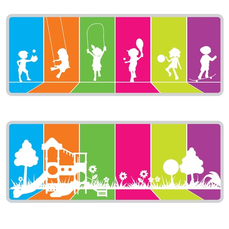 children playground: colorful billboard background for kids or fun theme Illustration