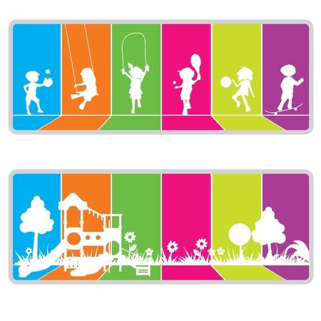 buiten sporten: kleurrijke billboard achtergrond voor kinderen of leuke thema Stock Illustratie