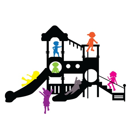 children silhouettes playground for banners, background and others
