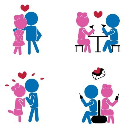 pareja comiendo: palos chicos y chicas para el concepto de amor como símbolos, signos, día de San Valentín, romance y otros Vectores