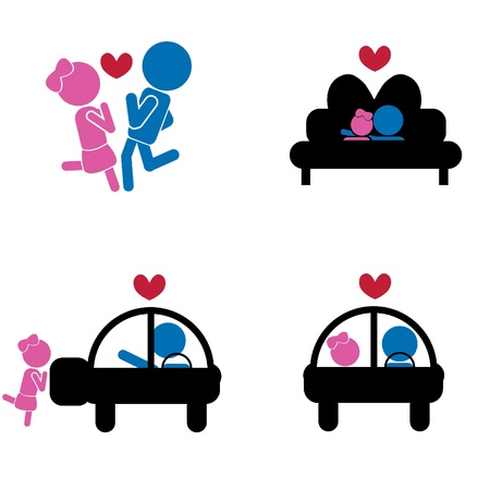 lying in bed: girl boy sticks -  love concept as symbols, signs, valentine, romance and others Illustration