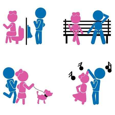 washroom: girl boy sticks - couple or love concept as symbols, signs and others