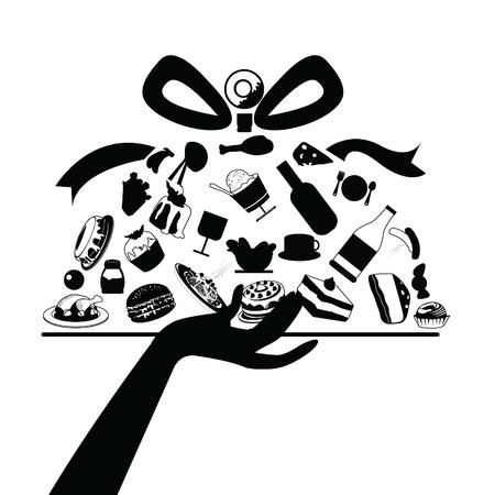 industria alimentaria: siluetas de los alimentos que se utilizar�n para la industria alimentaria, los antecedentes y los dem�s