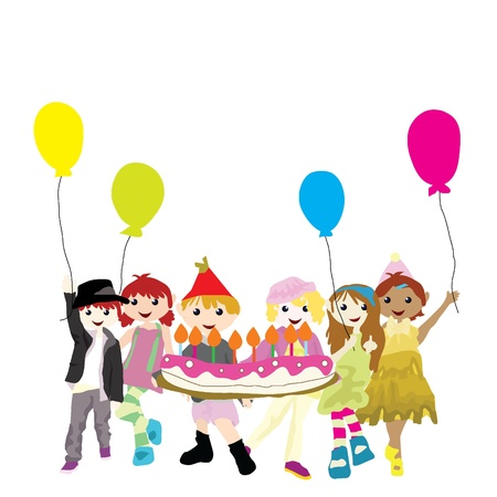 cartoon children with balloons and cakes for birthday and others Stock Vector - 14205647