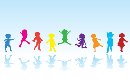 silhouettes of children: cartoon silhouettes children for children activity, fun and play Illustration