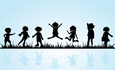 kind silhouet: cartoon silhouetten kinderen voor kinderen activiteiten, plezier en spel Stock Illustratie