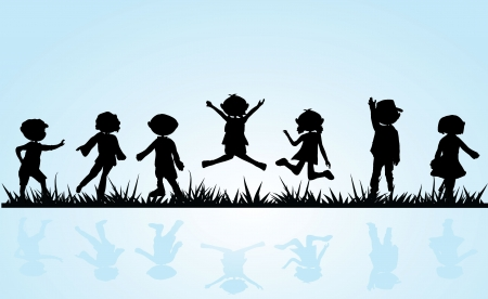 grass silhouette: cartoon silhouettes children for children activity, fun and play Illustration