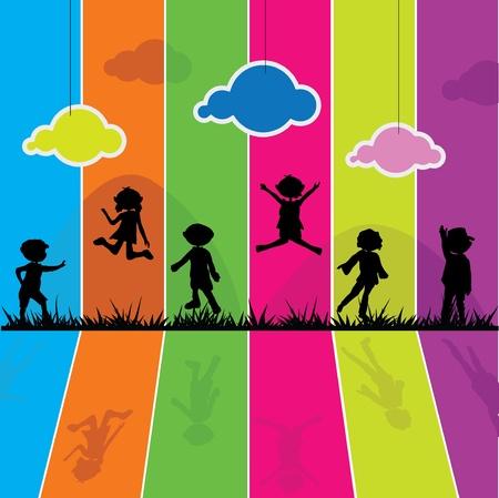ni�os con pancarta: siluetas de los ni�os de dibujos animados para la actividad de los ni�os, la diversi�n y el juego