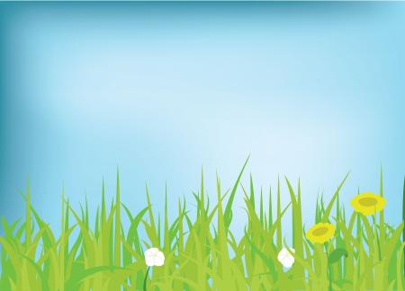 ozone friendly: grass and flowers background for background, nature, and others Illustration