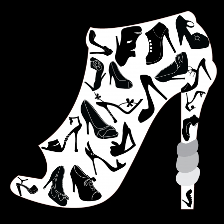 heels shoes: shoes silhouettes icons - for shopping, shoes and others Illustration