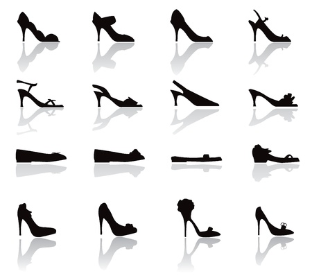 black shoes: shoes silhouettes icons - for shopping, shoes and others Illustration